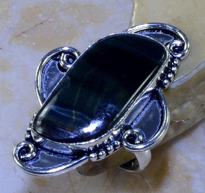 BLACK TIGER EYE GEMSTONE .925 SILVER PLATED RING SIZE 8