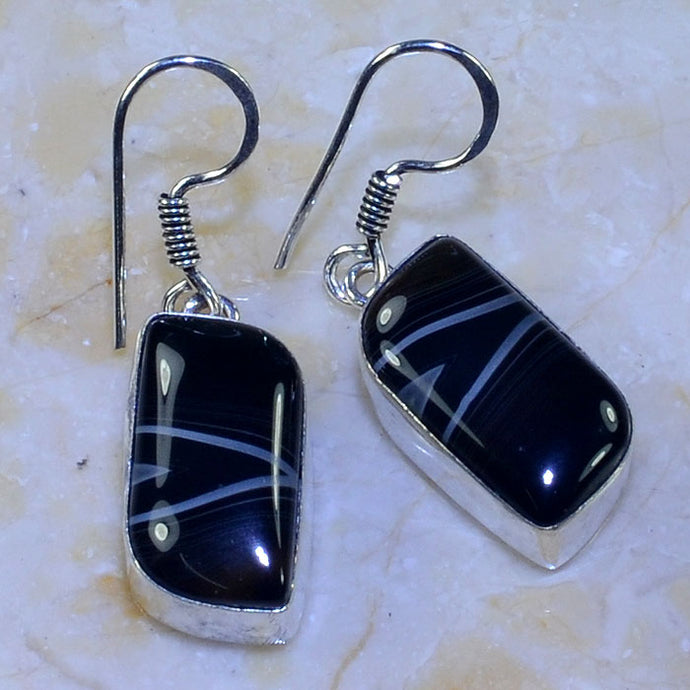 BOTSWANA AGATE GEMSTONE .925 SILVER PLATED EARRINGS 1 3/4