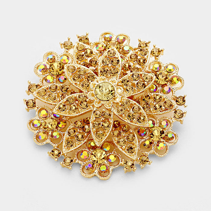 Flower Bouquet Topaz Crystal Gold Pin Brooch