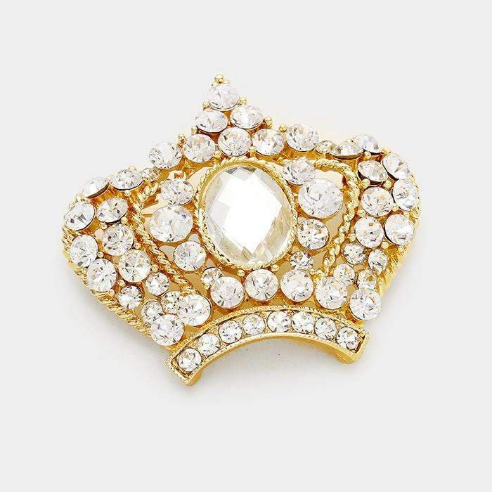 Gold Crown Pave Crystal Rhinestone Marquise Fashion Brooch