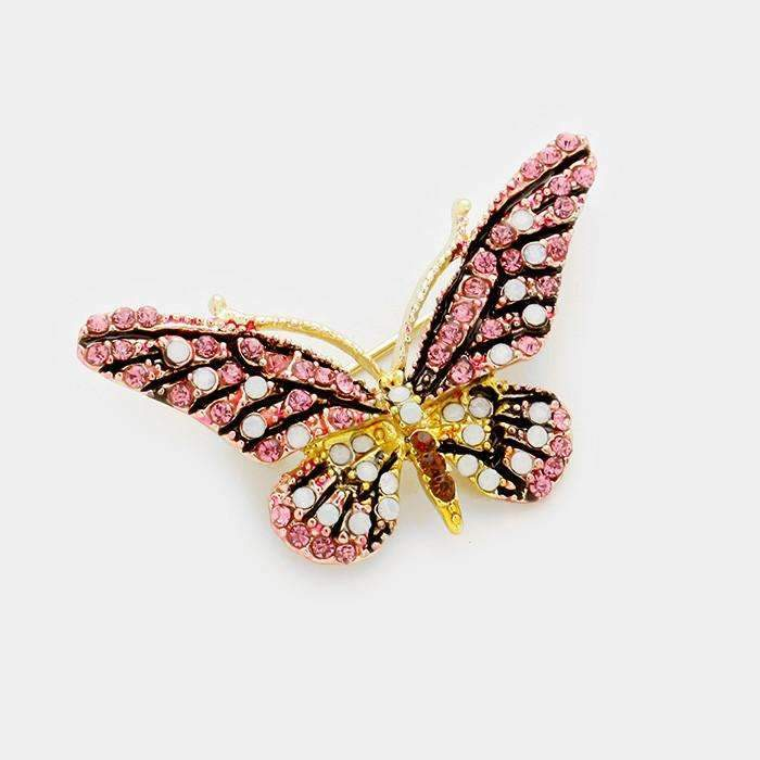 Butterfly Pave Glass Crystal Pink & White Rhinestone Gold Brooch