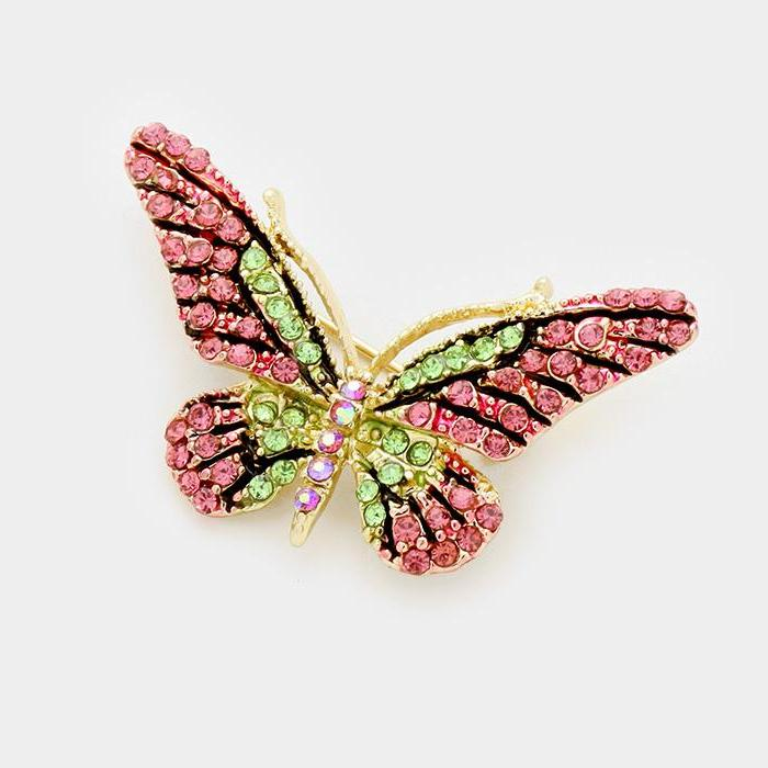 Butterfly Pink & Green Pave Crystal Rhinestones Gold Brooch Pin