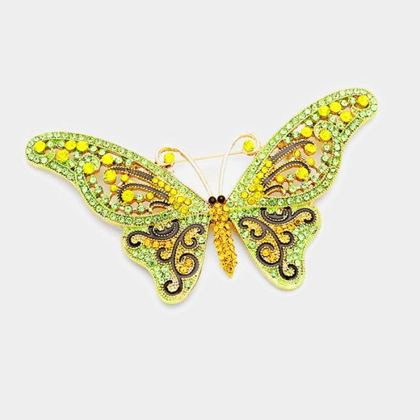 Butterfly Peridot & Yellow Crystal Large Brooch