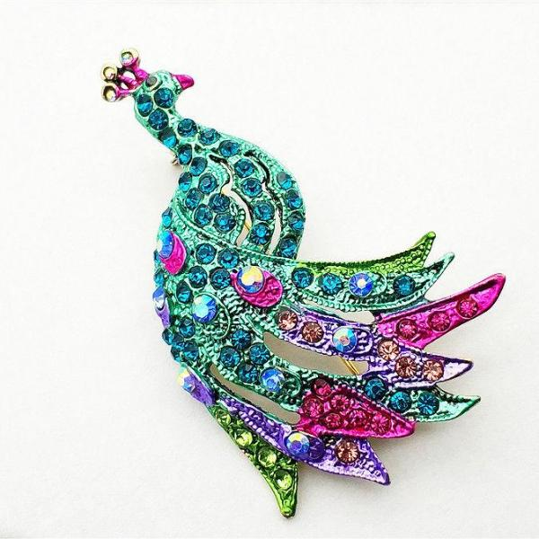 Betsey Johnson Blue Multi-Color Crystal Peacock Brooch Pin