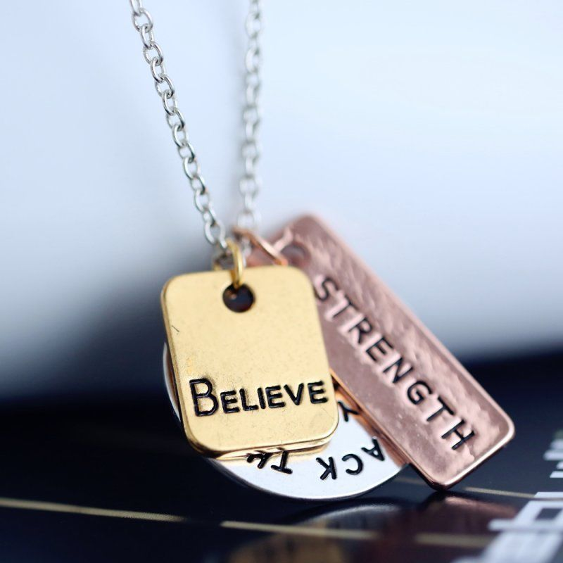 Believe Strength Inspirational Tri Tone Necklace