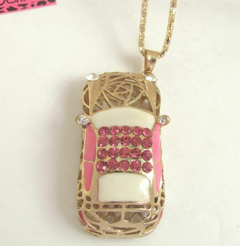 Betsey Johnson Pink Enamel Car Rhinestone Pendant Necklace