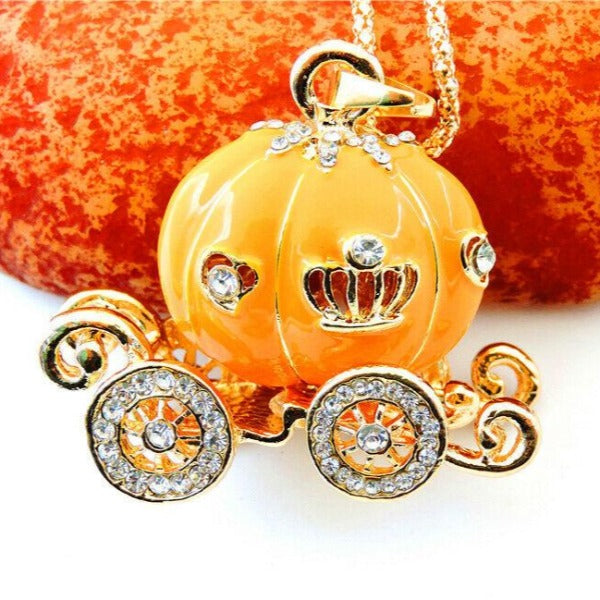 Betsey Johnson Carriage Orange Enamel Pendant Necklace