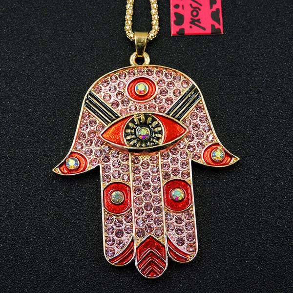 Betsey Johnson Ancient Egypt Eye Palm Pink Pendant Necklace