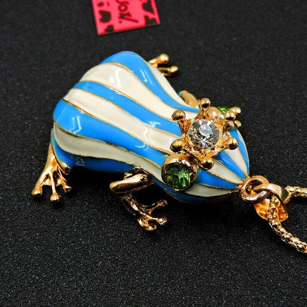 Betsey Johnson Blue & White Enamel Frog Crown Pendant Necklace