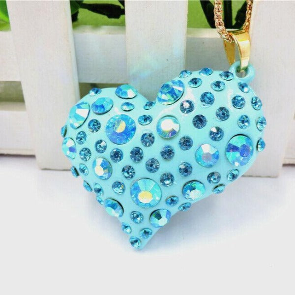Betsy Johnson Teal Blue Heart With Crystals Gold Pendant Necklace