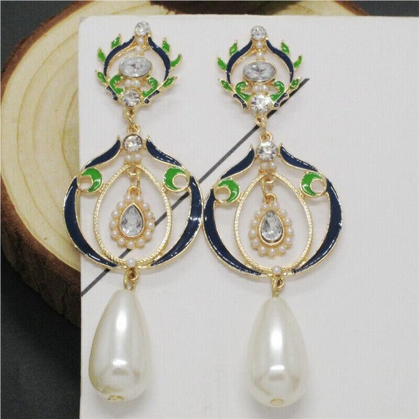 Betsey Johnson Elegant Faux Pearl Evening Earrings