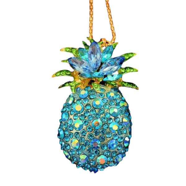 Betsey Johnson Pineapple Blue Crystals Gold Pendant Necklace