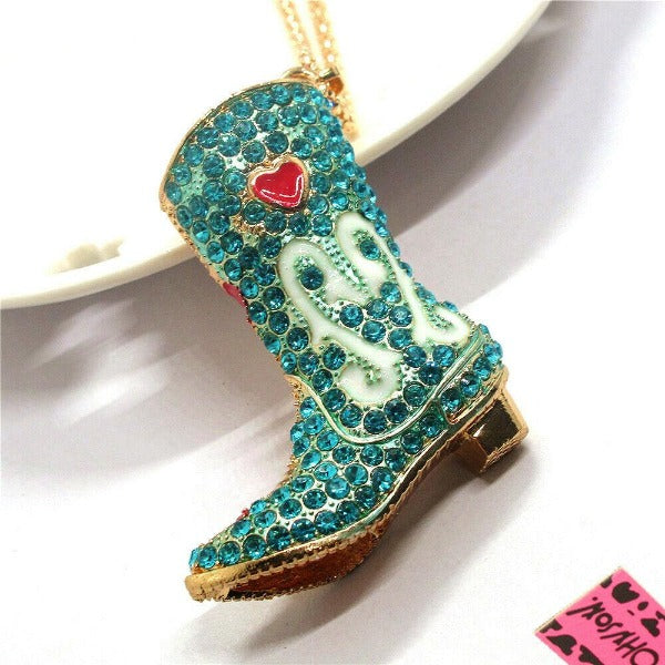 Betsey Johnson Blue Cowboy Boot with Heart Pendant Necklace