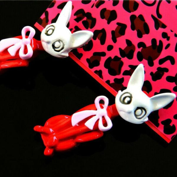 Betsey Johnson Crazy Cat Red & White With Moveable Body Earrings