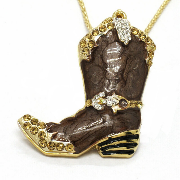 Betsey Johnson Brown Cowboy Boot Crystal Pendant Necklace
