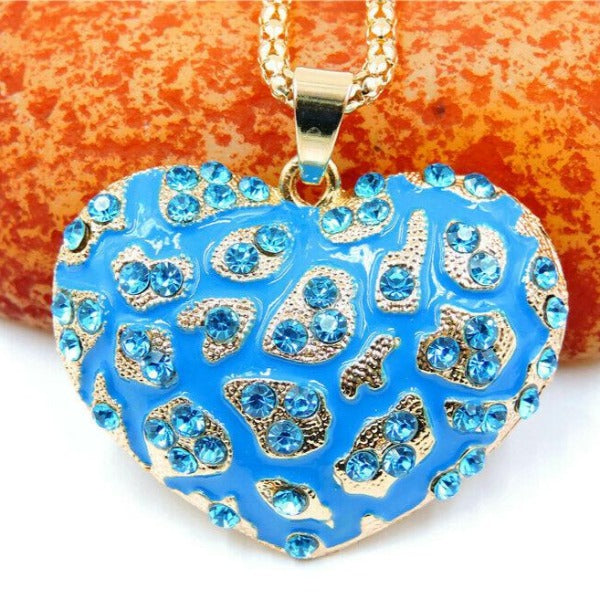 Betsey Johnson Blue Animal Print Heart Crystals Gold Pendant Necklace
