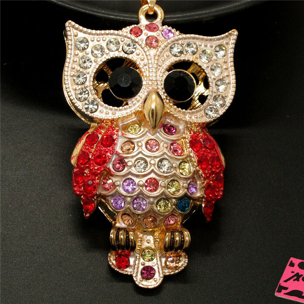 Betsey Johnson Owl Red Rhinestones Crystal Eyes Gold Necklace
