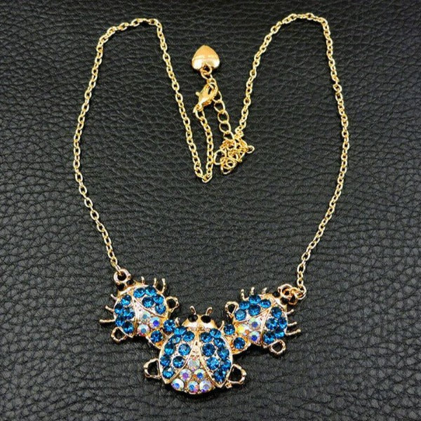 Betsey Johnson Blue Ladybug Crystal Rhinestone Necklace