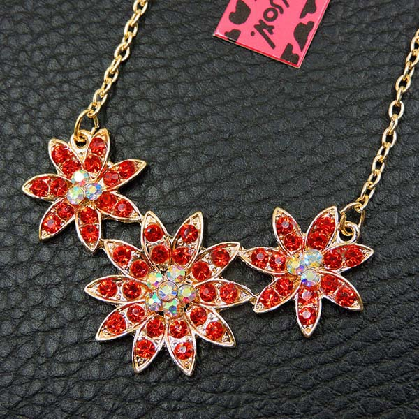 Betsey Johnson Dainty Flower Red Crystal Necklace