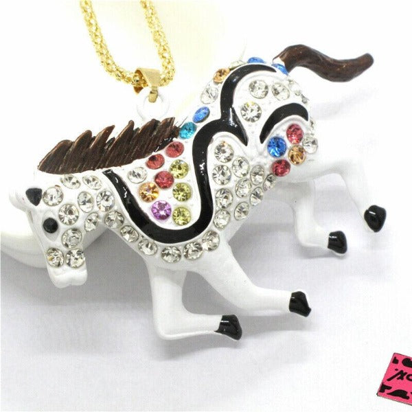 Betsey Johnson White Stallion Horse Enamel Gold Tone Necklace