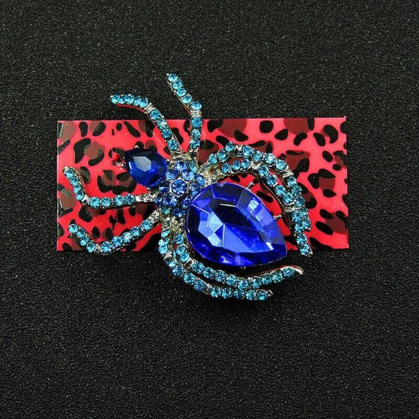 Betsey Johnson Spider Blue Inlaid Crystal Silver Brooch Pin