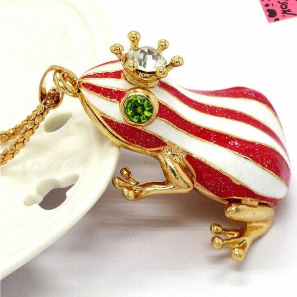 Betsey Johnson Crowned Frog Red & White Striped Enamel Crystal Necklace