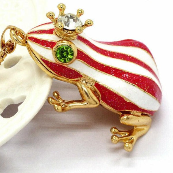 Betsey Johnson Red & White Striped Frog Enamel Crystal Crown Necklace