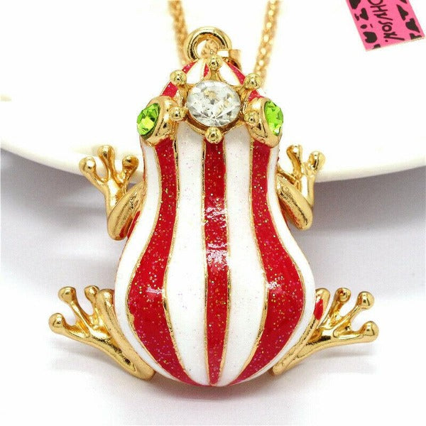 Betsey Johnson Frog Red & White Striped Enamel Crystal Crown Necklace