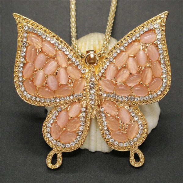 Betsey Johnson Pink Butterfly Rhinestone Brooch Necklace