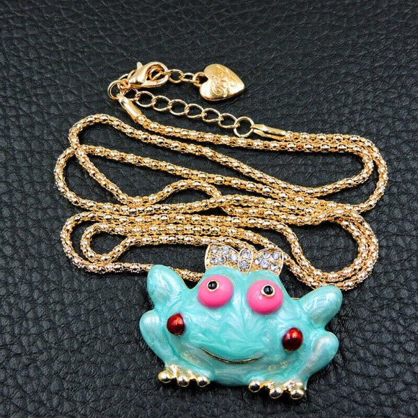 Betsey Johnson Girl Frog Pendant Necklace