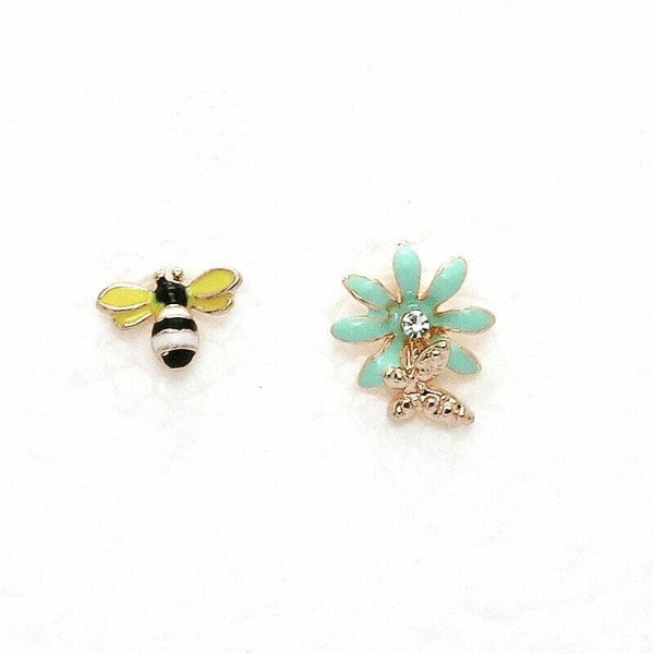 Betsey Johnson Rhinestone Bumble Bee Butterfly on Blue Flower Earrings