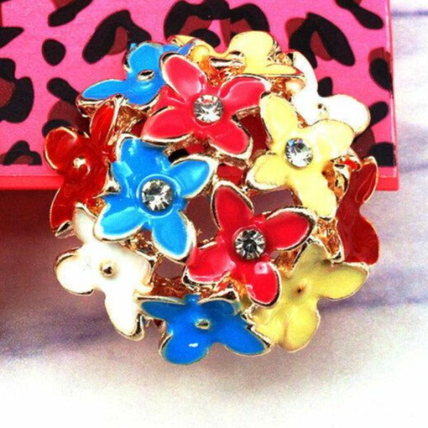 Betsey Johnson Flower Bouquet Multi-Color Crystal Lever Back Earrings