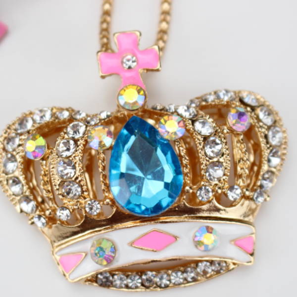 Betsey Johnson Jeweled Crown Blue Gem Pendant Necklace