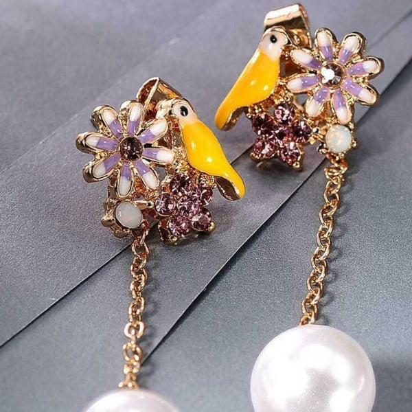 Betsey Johnson Bird Flower Rhinestone Faux Pearl Earrings