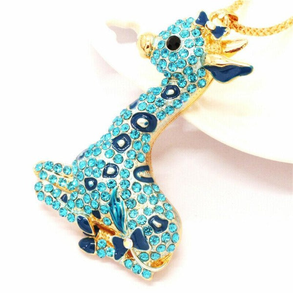 Betsey Johnson Giraffe Blue Rhinestone Gold Necklace
