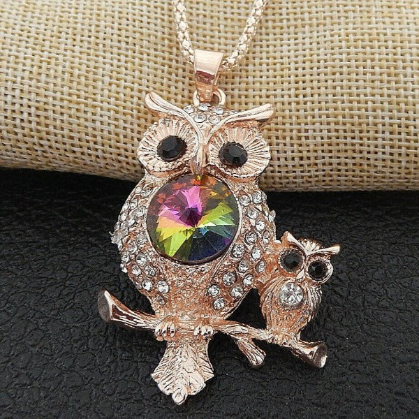 Betsey Johnson Two Owls Crystal Eyes Gold Necklace