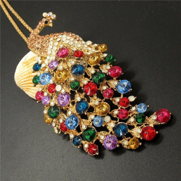 Betsey Johnson Peacock Multi-Color Rhinestone Gold Pendant Necklace
