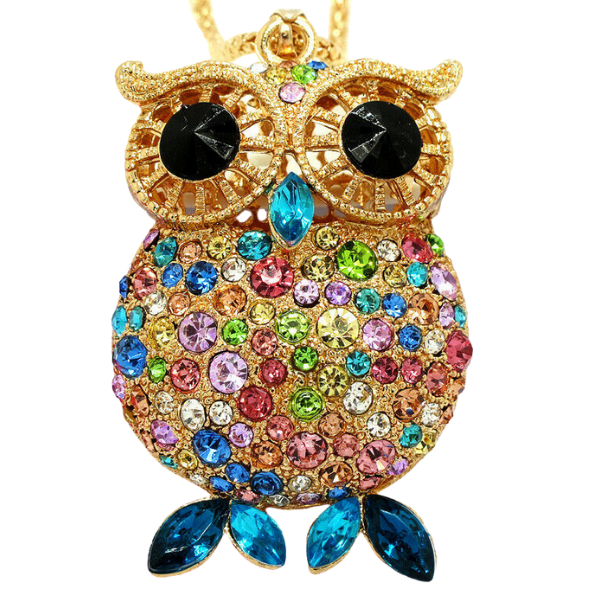 Betsey Johnson Owl Multi-Color Rhinestone Gold Pendant Necklace
