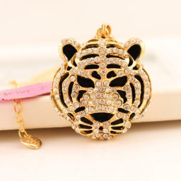 Betsey Johnson Tiger Lion Head Rhinestone Gold Necklace