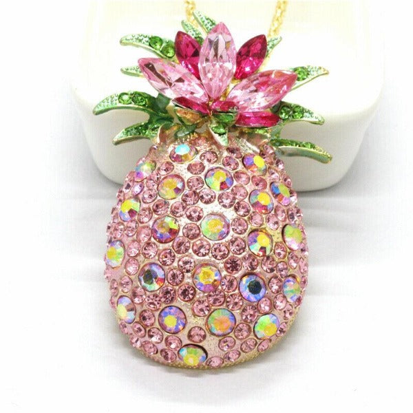 Betsey Johnson Pineapple Pink Crystals Gold Pendant Necklace