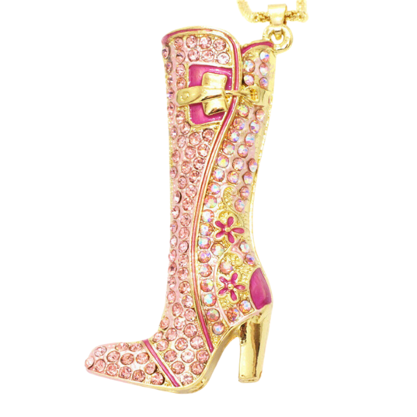 Betsey Johnson Pink High Heel Boot Crystal Pendant Necklace