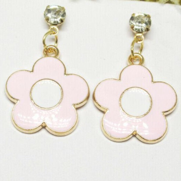 Betsey Johnson Flower Pink Enamel Rhinestone Earrings