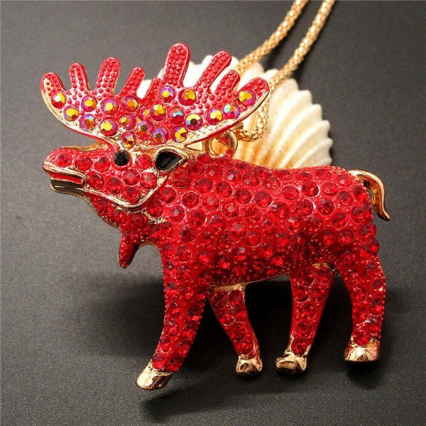 Betsey Johnson Red Moose Pendant Necklace