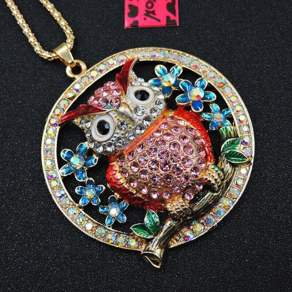 Betsey Johnson Owl Sitting on Branch Pendant Necklace