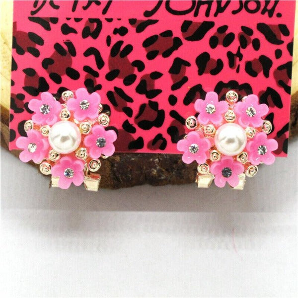 Betsey Johnson Pink Flower Bouquet Crystal Lever Back Earrings