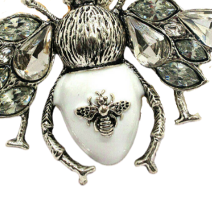 Betsey Johnson Bee White Enamel Crystal Pendant Necklace