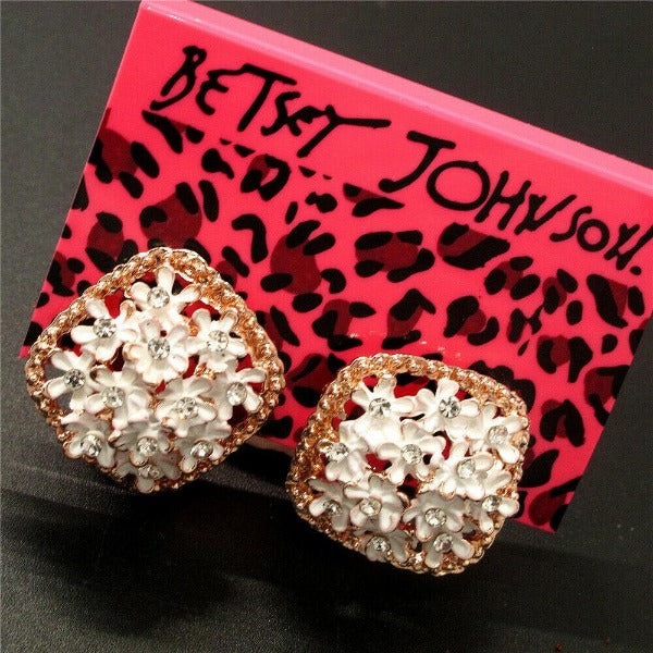 Betsey Johnson Flower White Enamel Lever back Earrings