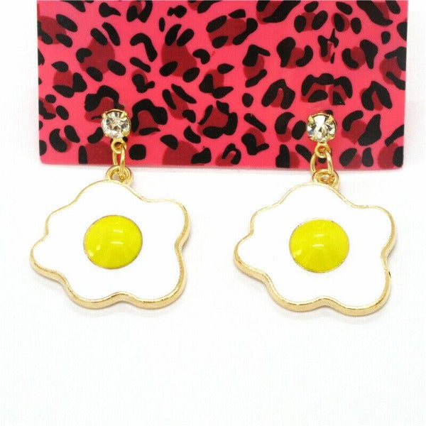 Betsey Johnson Egg Yellow & White Dangle Rhinestone Earrings