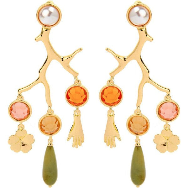 Betsey Johnson Branches With Hands Flower Earrings
