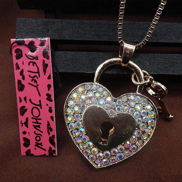Betsey Johnson Crystal Heart Lock & Key Pendant Necklace